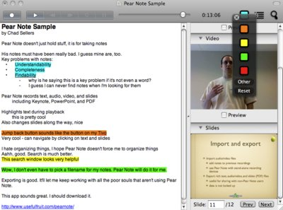 Highlighting in Pear Note 1.3 showing the color chooser